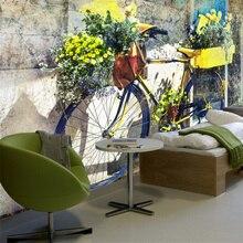 Foto personalizada Europea 3D alta calidad no tejido Mural papel pintado bicicleta Vintage Floral Fondo hojas verdes para la sala de estar