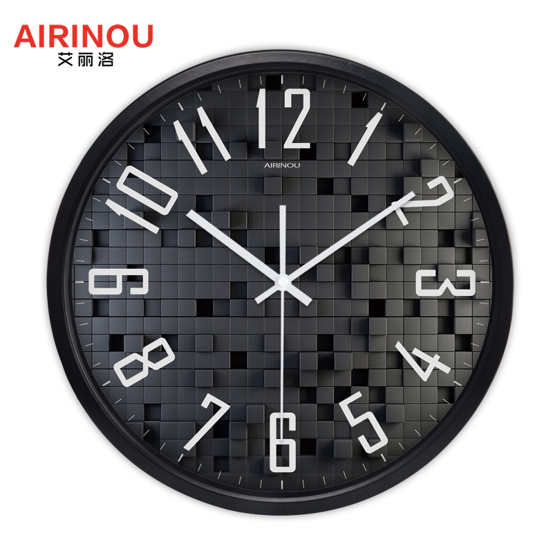 Airinou New Design 3d Black Box Picture Living Room Wall Clock Home Decor Personalized Glass