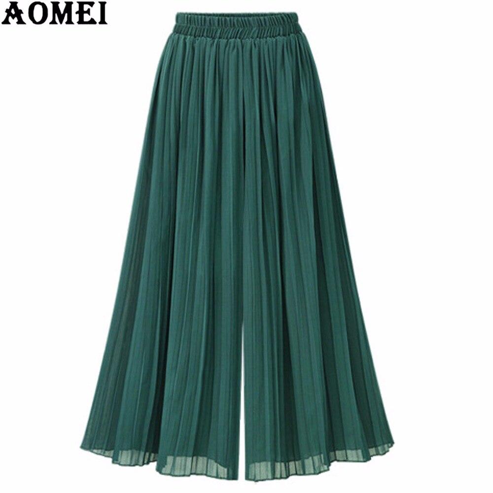Women Summer Chiffon   Wide     Leg     Pants   Loose Fit Office High Waist Pockets Palazzo   Pant   Casual Trousers 5XL 4XL Plus Size Beachwear