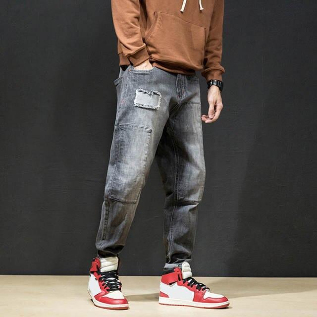 US $23.43 45% OFF|KSTUN Harem Jeans for Boys Baggy Slacks Trousrs Spliced Patch Moto Biker Jean Man Hiphop Pants Casual Denim Streetwear Plus Size in
