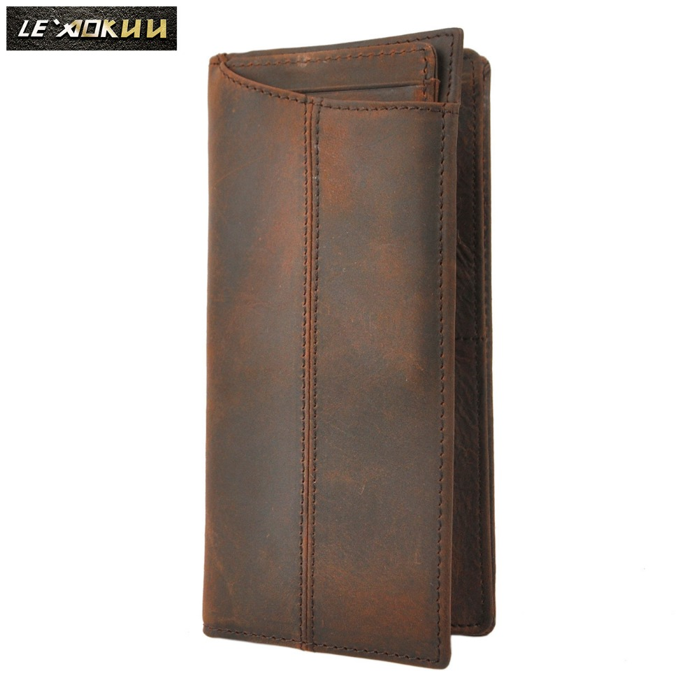 Fashion Cattle Male Genuine leather Large Capacity Designer Checkbook Organizer Card Case Wallet Purse For Men 1019