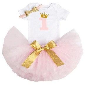 Платье на день рождения для девочек 1 год, платье на крестины для первого дня рождения, костюм принцессы для девочек 12 месяцев, платье для мал...