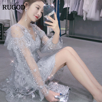 RUGOD 2018 New Arrival Casual Women Dress Summer Autumn Bodycon Female Party Dress Oversized High Waist Chiffon Dress