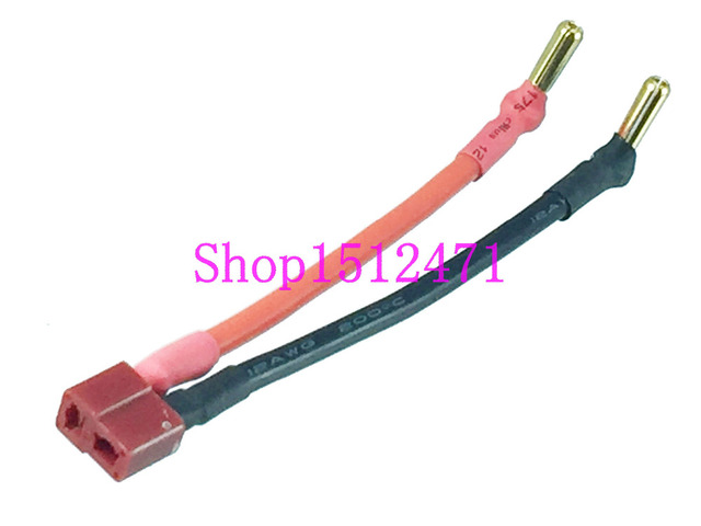 T Plug Deans female to 4.0mm 4mm cross banana 12AWG 10CM Wire for ...