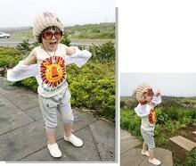 Nova Verão 2016 Conjuntos de Roupas de Bebê Menino Dos Desenhos Animados Do Leão T-Shirt + Calças Crianças Meninos Roupas Set Crianças Ternos roupas infantis menino