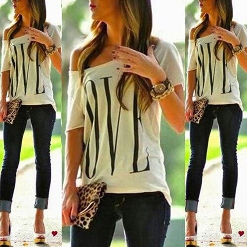женская повседневная футболка с открытом плечом фото
