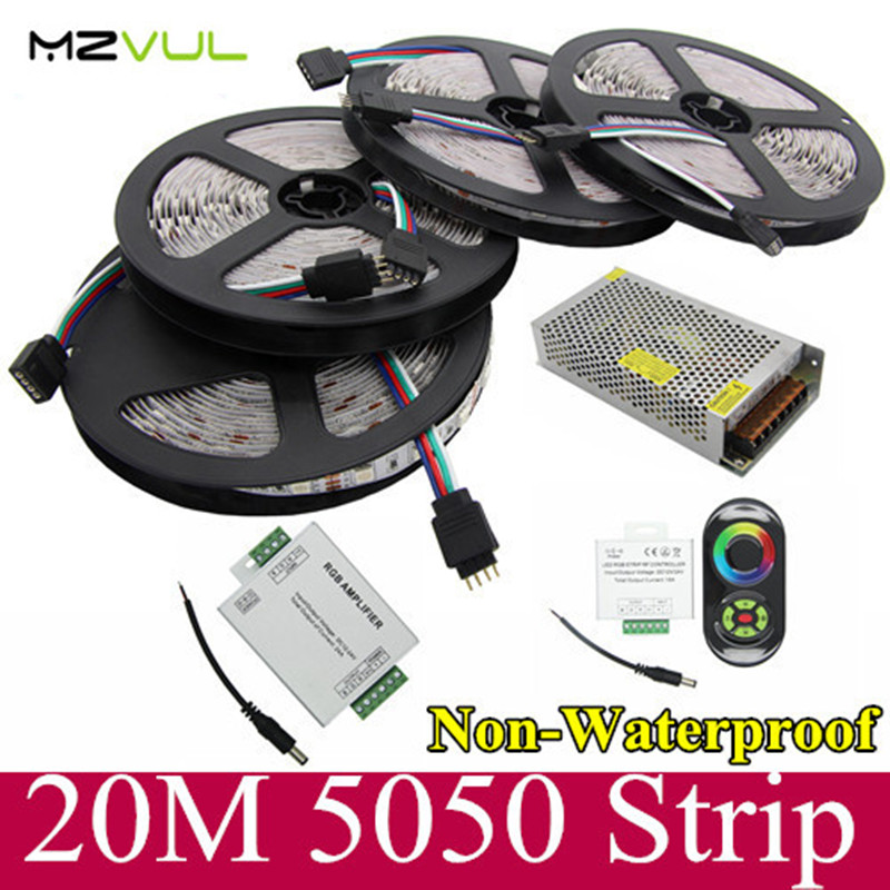 20M 5050 RGB LED strip light 60Leds/M SMD Flexible +18A Wireless Touch Remote Controller+24A Amplifier+12V 20 A Power 20m smd 5050 rgb led strip light 60leds m led flexible tape rope lights 18a wireless touch remote controller dc 12v power supply