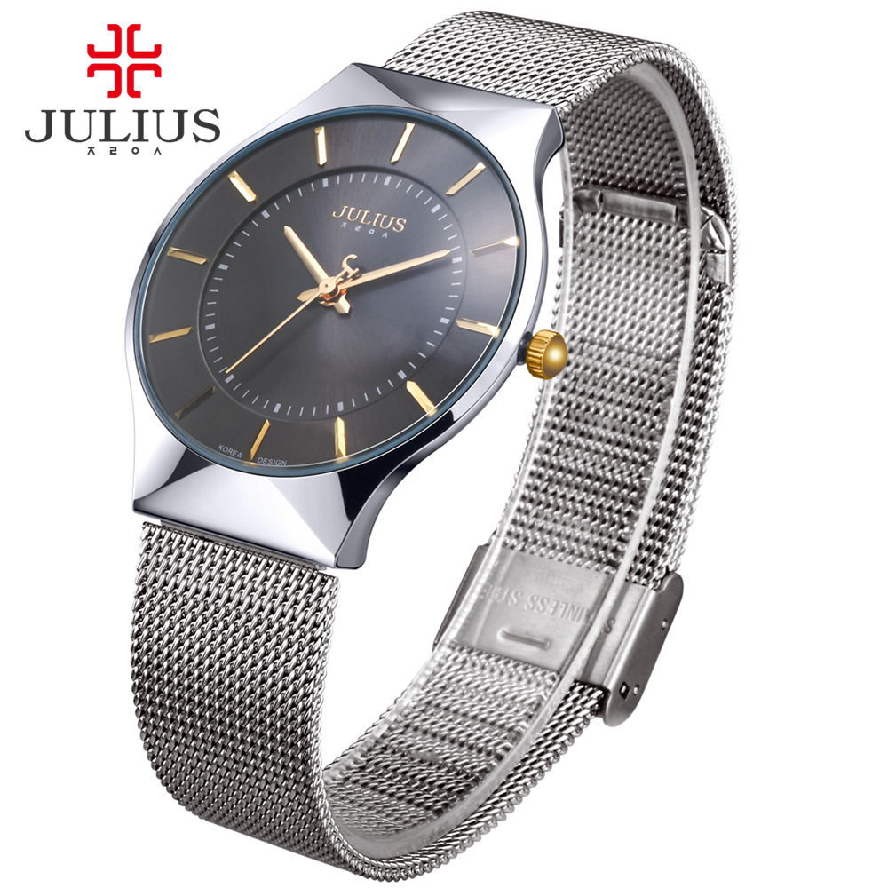 Ultra Thin Stainless Steel Men's Watch Japan Quartz Basic Hours Classic Simple Clock Boy Christmas Birthday Gift Julius цены