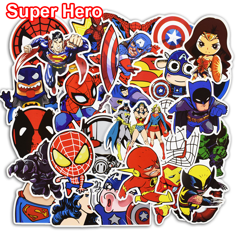 все цены на New 50 Pcs Super Hero Stickers for Skateboard Laptop Car Styling Bicycle Luggage Phone Vinyl Decal Cool PVC Waterproof Sticker