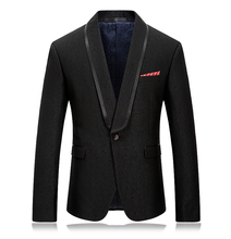 2019 Black Blazer Men Jacquard Slim Fit With Satin Piping Collar Suit Jacket Dinner Homme Formal For