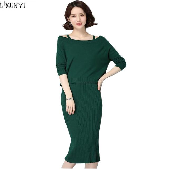 Lxunyi Plus Size Two Piece Set Women Knitted Dress Elegant Pullover