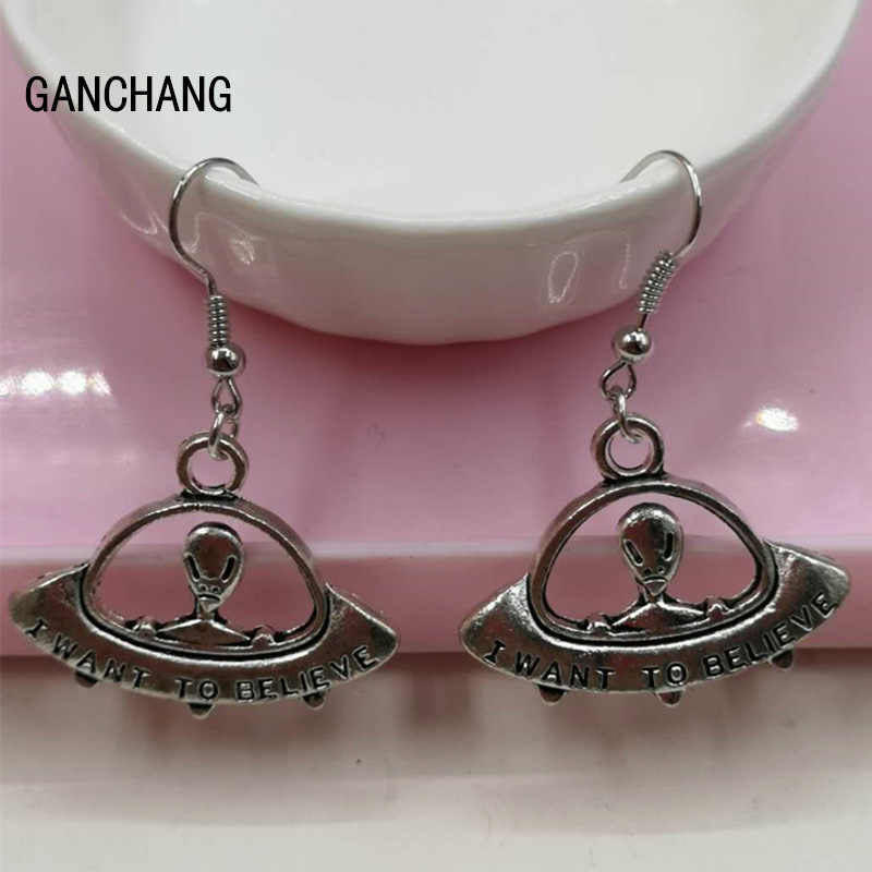 Best selling antique silver alien flying saucer space ship pendant earrings female gift jewelry