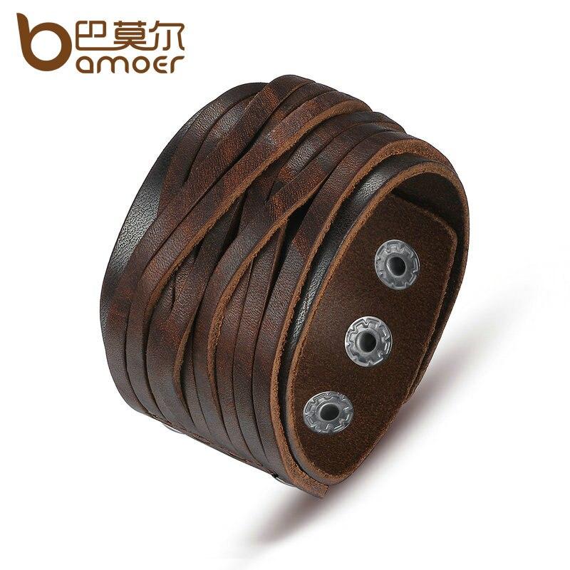 BAMOER Black & Brown Genuine Leather Bracelet With Alloy Buckle Adjustable Fashion Women & Men Bracelets Jewelry PI0337-1 nidin 2017 men jewelry brown genuine leather bracelets
