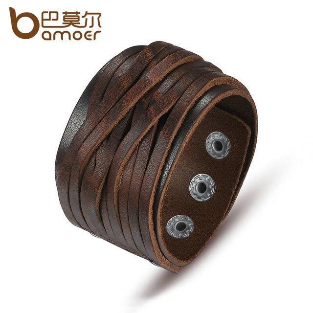 BAMOER Black & Brown Genuine Leather Bracelet With Alloy Buckle Adjustable Fashi