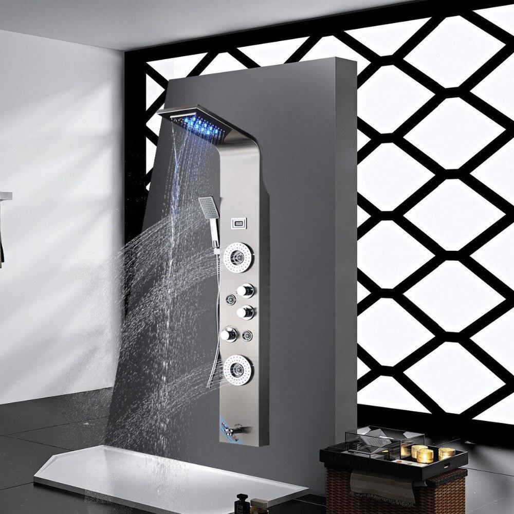 LED Head Sprayer Nickel Brushed Waterfall Shower Panel Brushed Bathroom ShowerTowel Faucet Shower Panel Column With Hand Sprayer