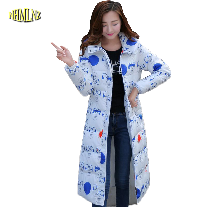 Europe New Style Fashion Women Winter Coat Elegant Hooded Printing Long Down jacket Slim Leisure Big yards Thick Warm Coat G2150 europe winter big yards women coat warm duck down down jacket elegant pure color casual thick hooded slim women short coat g0451
