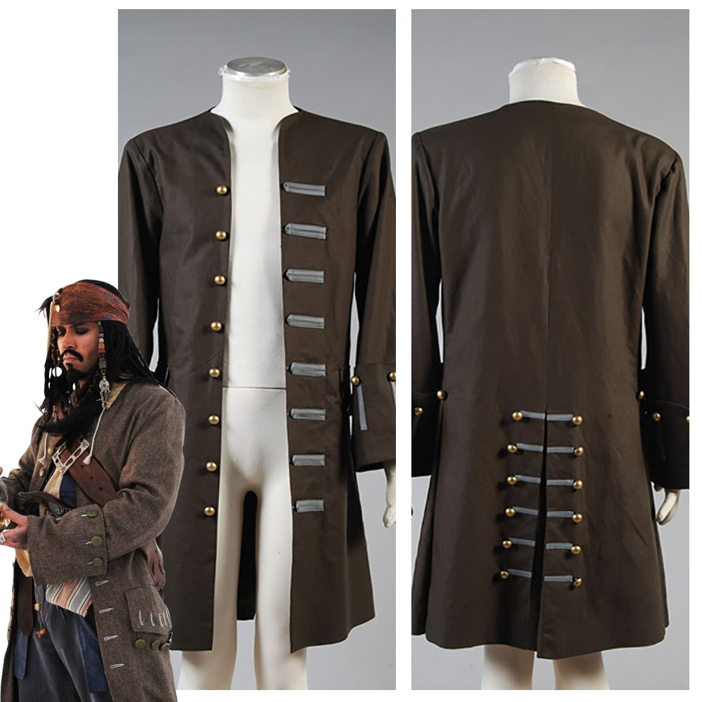 Pirates Adult Jack Sparrow Costume Jack Sparrow Jacket Coat Cosplay Costume