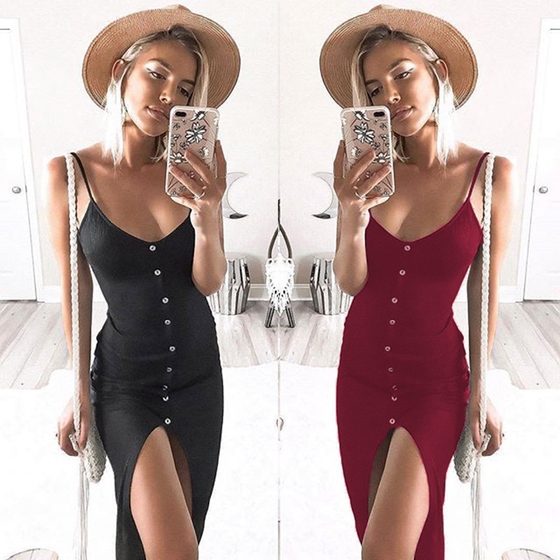 SHIBEVER New Button Mid Calf Sexy club Party Dresses Front split Spaghetti  Strap bodycon women summer dress female NLD759-in Dresses from Women s  Clothing ... a6211fb250d7
