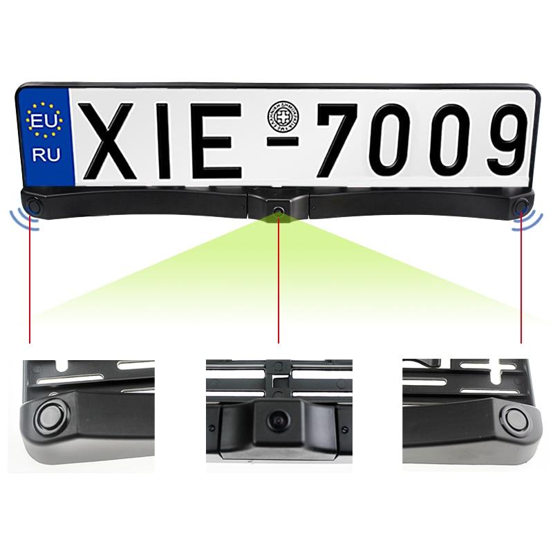Sinairyu Auto Vorne/Hinten Parkplatz Radar Sensor + HD CCD Europa Russland Kennzeichen Rahmen Auto Vorne Kamera Ohne parkplatz Linie