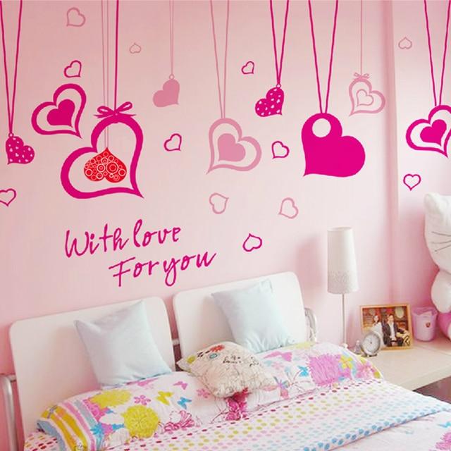Goedkope Romantische liefde muurstickers woonkamer slaapkamer sofa ...