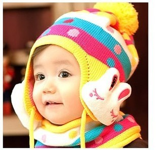 Winter crochet hooded baby hats Bunny cap sleeve + scarf for children girls newborn outfits bonnet children clothes accessories