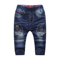 Nowa Moda Dla Dzieci Chłopcy Dżinsy Elastyczny Pas Niebieskie Dżinsy Dla chłopcy Wiosna Jesień Spodnie Druku Dla Dzieci Spodnie Dla Dzieci Dziecko Chłopców odzież