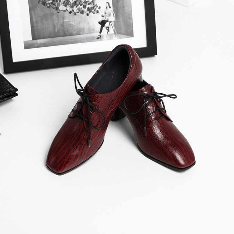 Фото MLJUESE 2019 женские туфли на низком каблуке из овчины Осень весна шнуровке красного