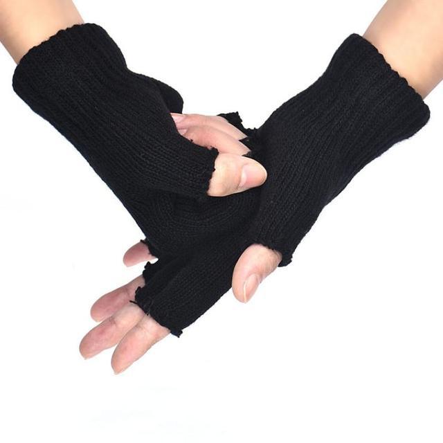 2017 Hot Selling Gloves Men Black Knitted Stretch Elastic Winter Warm Half Finger Gloves Men Gants Homme*1127