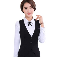 2016 Fashion business career ladies vest work wear uniforms Slim V-Neck Formal jackets women office vests coat plus size S-4XL