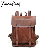 YeeSupSei Male Functional Bag Fashion Men Backpack Vintage Crazy Horse Leather Backpack Big Capacity Men Travelling Laptop Bag