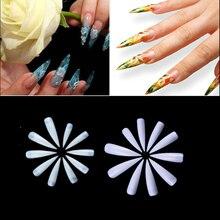 500pcs/bag Long Stiletto Fake Nails Tips Salon Makeup DIY Decorated Manicure Artificial Nails Half Cover Tips False Nail 3 Color