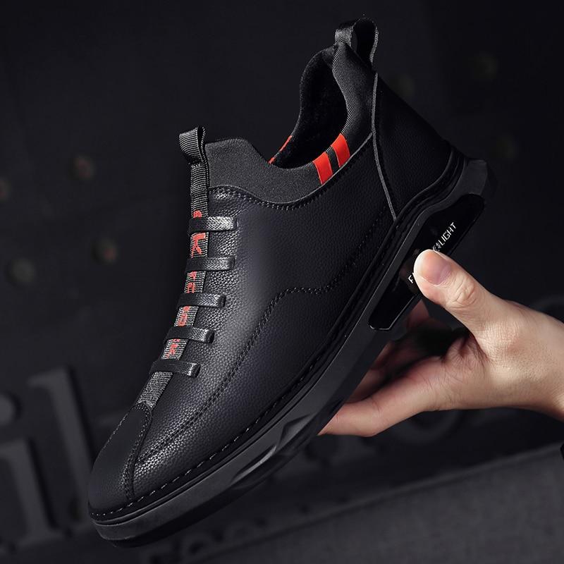 Hommes chaussures en plein air respirant confortable en cuir véritable à lacets mode mâle chaussures plates en plein air voyage marche baskets basses