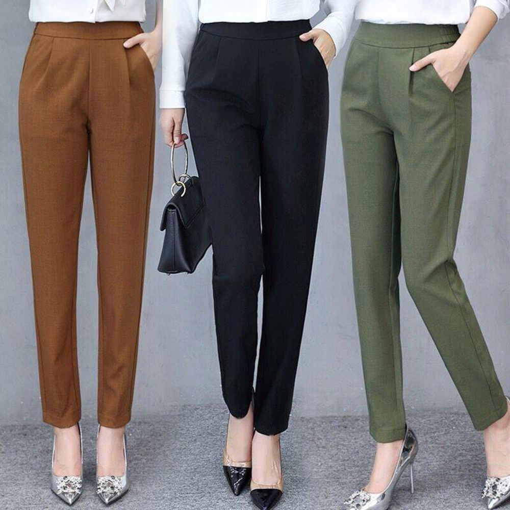 Women Elastic Waist Long Trousers Pants Casual Fashion Solid Mid Office Plus Size Women Joggers Sweat Skinny Pencil Pant Black