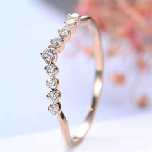14K Rose Gold Diamond Ring Fashion Engagement Finger Bague Etoile Ring Bizuterias for Women Anillos De Jewelry Diamante NoEnName vintage chic diamante solid rose embellished alloy ring for women