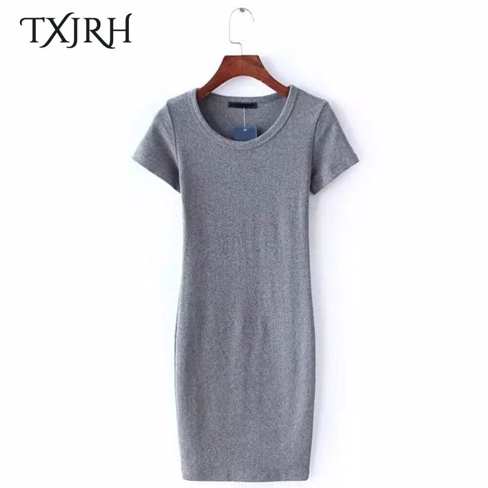 TXJRH Sexy Thread High Elastic Slim Sheath Mini Knitting Dress Trendy Women Short Sleeve O-Neck Pullover Vestidos Casual 6 Color