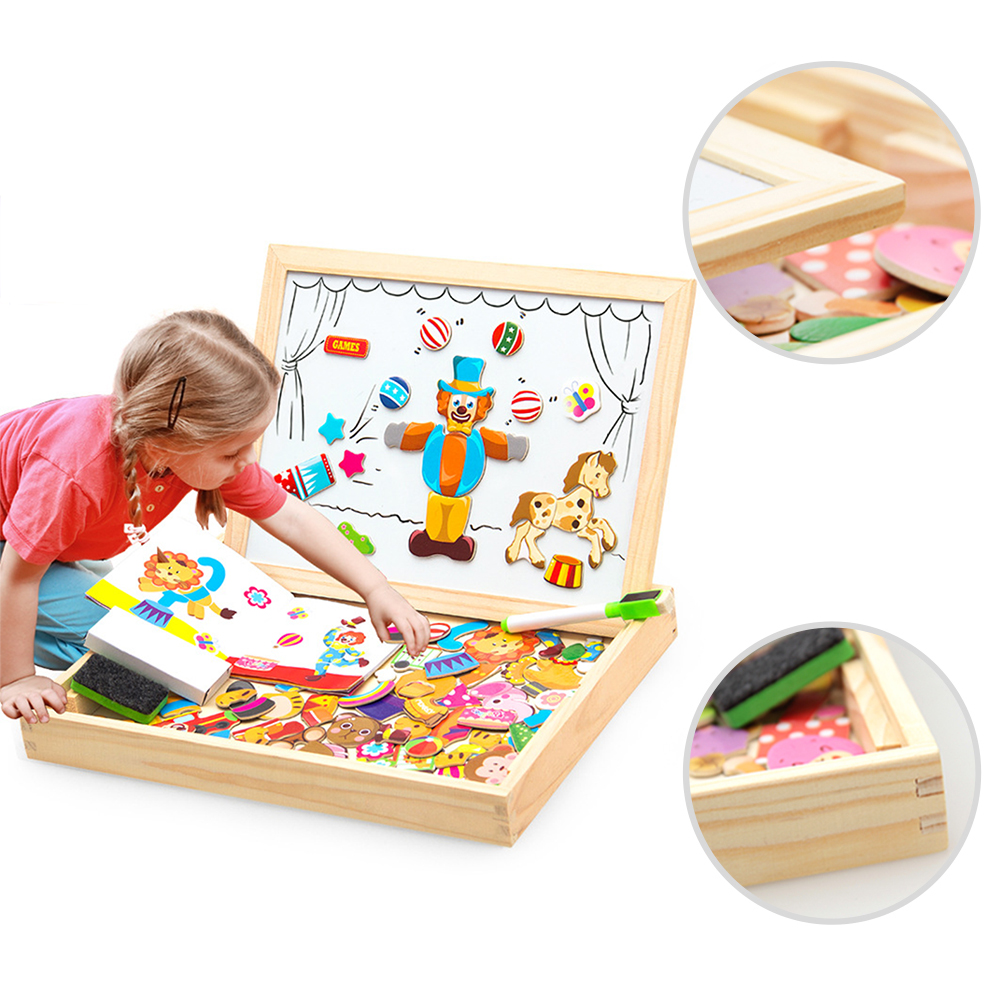 Wooden Magnetic Puzzle Figure/Animals/ Vehicle /Circus Drawing Board 5 Styles Box Educational Toy Gift цена