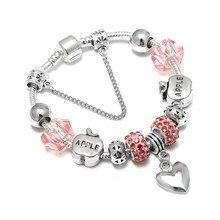 13abf5878 SPINNER Christmas DIY Charm Bracelet Apples Heart Pendant Pandora Bracelet  for Women Jewelry Christmas Eve Gift