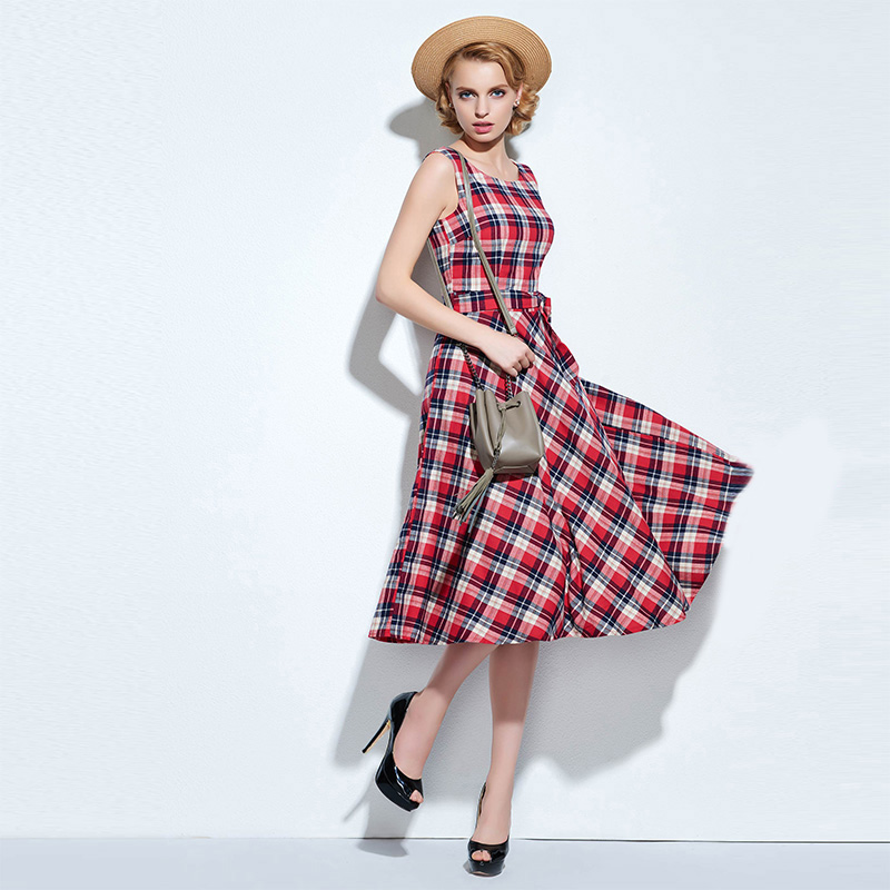 Sisjuly vintage women sleeveless dress plaid summer a line belt empire party mid-calf dresses o-neck ladies classic retro dress