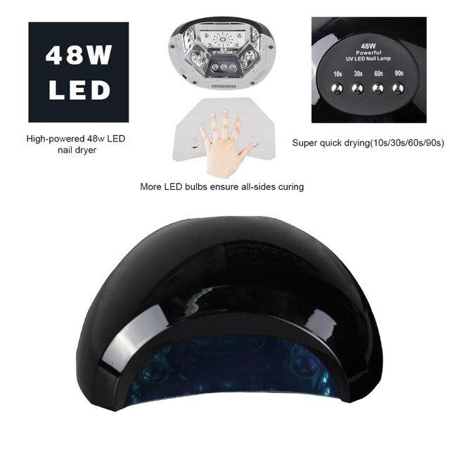 Профессиональный CCFL светодиодная лампа naill 48 Вт СВЕТОДИОДНЫЕ УФ-Лампы для Ногтей, ногти барабан с Автоматическим Индукции 10 s 30 s 60 s 90 s таймер Ногтей инструменты