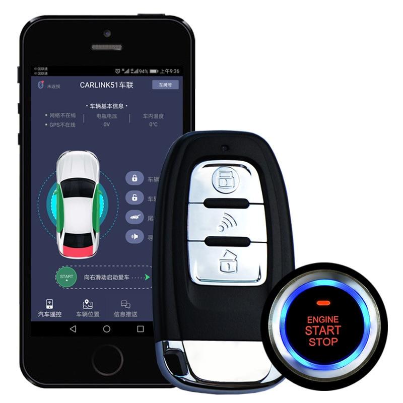 APP démarrage à distance Smartphone PKE démarrage bouton d'arrêt moteur de voiture démarrage sans clé alarme automatique système d'alarme de voiture verrouillage Central