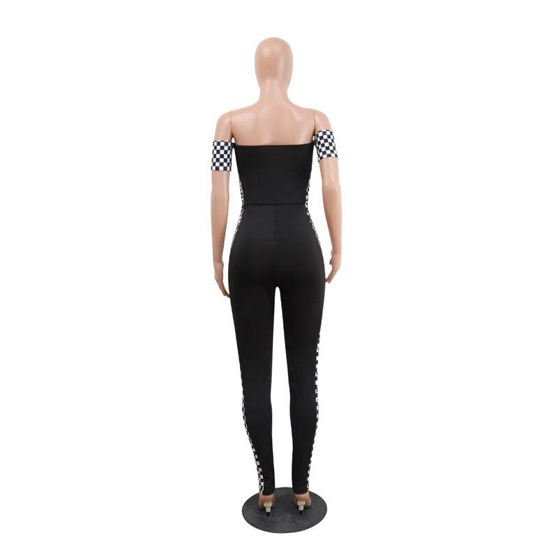 Новый Для женщин пикантные Комбинезоны для женщин слэш-образным вырезом с коротким рукавом плед полосы лоскутное женский сексуальный Комб...