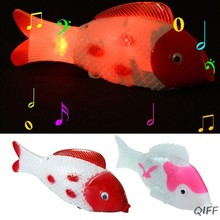 1pc Mini Electric Bionic Swing Fish Toy Deep Sea Electronic Fishes Glowing Toys Baby Kids Bathing Gifts color send randomly(China)
