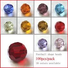 100 Pièces de perles d'Autriche de différentes facettes et couleurs, perles de verre de crystal, entretoises lâches et perles rondes pour la fabrication de bijoux, 4 mm, 6 mm, 8 mm, 10 mm, qualité AAA
