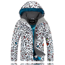 Gsou Snow Ski Jacket Kids Waterproof Winter Snow Jacket Thermal Snowboard Girls Coat Outdoor Leopard print Mountain Ski Clothes