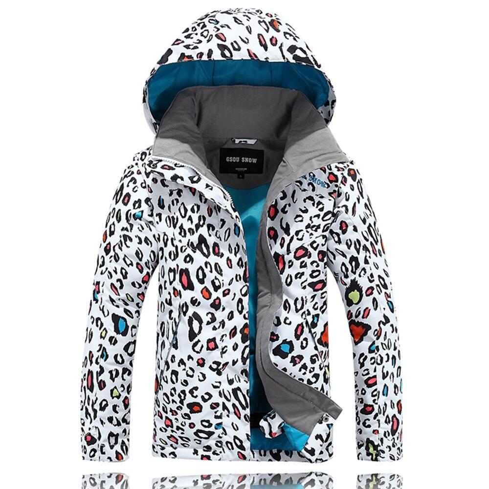 Prix pour Thermique snowboard filles manteau extérieur imprimé léopard vêtements de ski de montagne gsou snow ski veste enfants d'hiver imperméables neige veste
