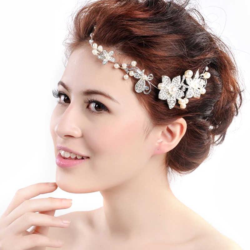 結婚式のヘアアクセサリークリップロマンチックなクリスタルパール花かんざしティアラブライダルクラウンヘアピン花嫁のヘアジュエリー