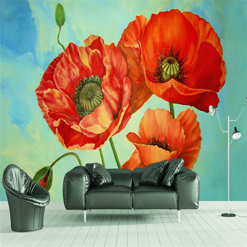 3D Custom Vintage Wallpapers Hand-painted Murals Oil Painting Flowers Picture American Walls Papers for Living Room Home Decor hua tuo landscapes hand painted oil painting