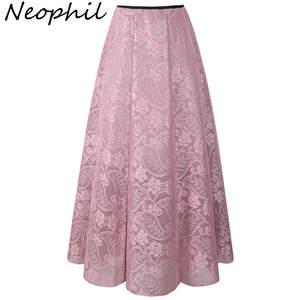 Neophil 2018 Lace Women Long Skirts Maxi High Waist Pleated f9334e6cc