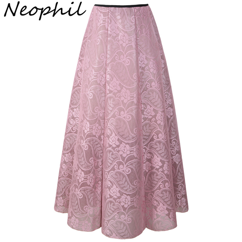 Neophil 2020 Vintage Ladies Floral Lace Mesh Women Long Skirts Muslim Maxi 100cm High Waist Pleated Print Boho Longa Saia MS1607