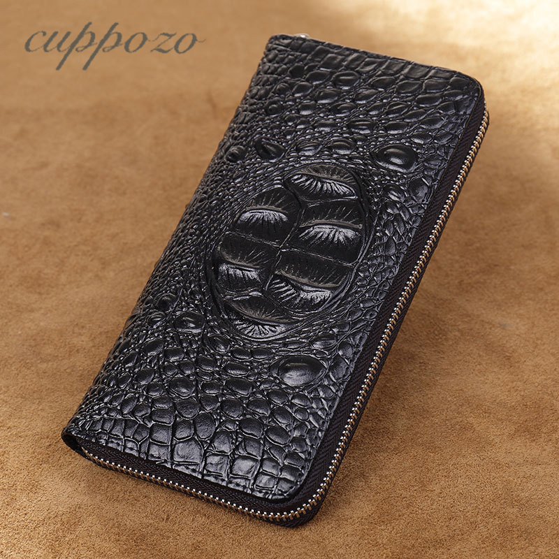 Cuppozo High Quality Crocodile Alligator Wallet Cowhide Handbag Men Long Multi-Card Bit Women Zipper Wallet Coin Purses Clutch